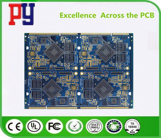 Blue 8 Layer Quick Turn PCB Prototypes 1.6MM Immersion Gold 0.25mm Hole ENIG Surface